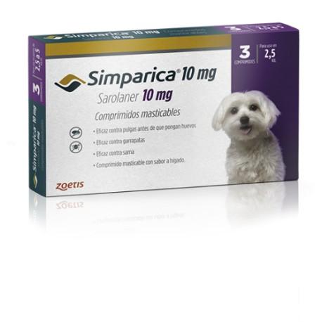 SIMPARICA 10 MG - 2.5 A 5 KG (3 COMPRIMIDOS)
