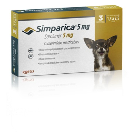 SIMPARICA 5 MG - 1.3 A 2.5 KG (3 COMPRIMIDOS)